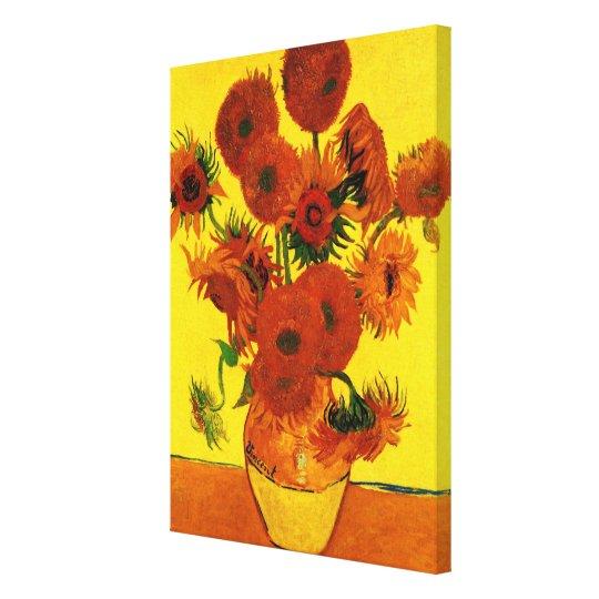 Van Gogh Fine Art, Vase with 15 Sunflowers Canvas Print