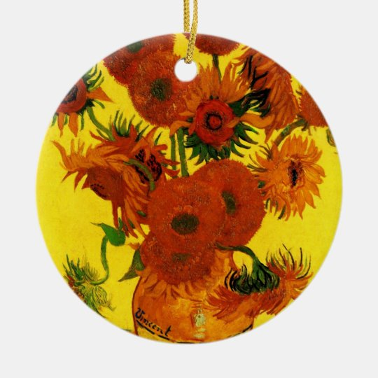 Van Gogh Fine Art, Vase with 15 Sunflowers Ceramic Ornament