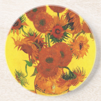 Van Gogh Fine Art, Vase with 15 Sunflowers Drink Coaster