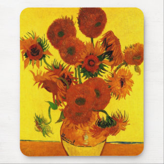 Van Gogh Fine Art, Vase with 15 Sunflowers Mouse Pad