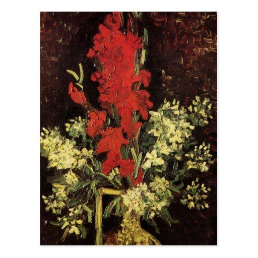Van Gogh Fine Art Vase with Gladioli and Carnation Postcard