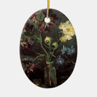 Van Gogh Fine Art, Vase with Myosotis and Peonies Ceramic Ornament