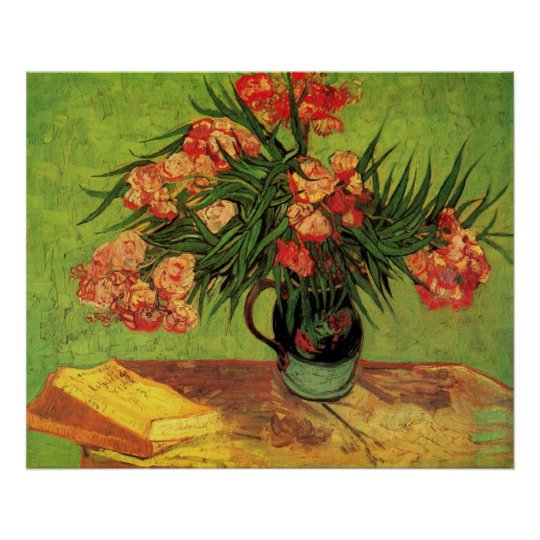 Van Gogh Fine Art, Vase with Oleanders and Books Poster