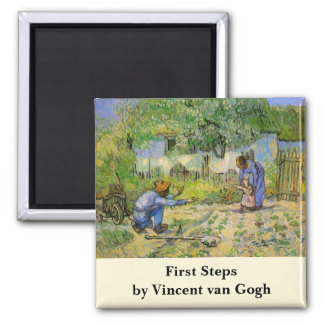 Van Gogh, First Steps, Vintage Impressionism Art 2 Inch Square Magnet