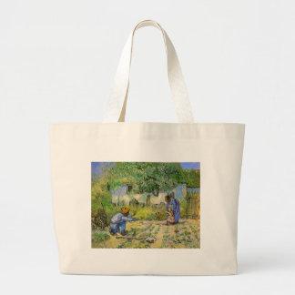 Van Gogh, First Steps, Vintage Impressionism Art Jumbo Tote Bag