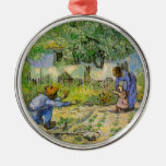Van Gogh, First Steps, Vintage Impressionism Art Round Metal Christmas Ornament