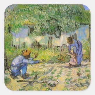 Van Gogh, First Steps, Vintage Impressionism Art Square Sticker