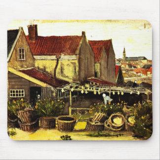 Van Gogh Fish Drying Barn, Vintage Fine Art Mouse Pad