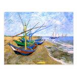 Van Gogh Fishing Boats Beach Saintes-Maries (F413) Post Card