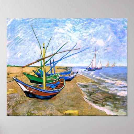 Van Gogh Fishing Boats Beach Saintes-Maries (F413) Poster