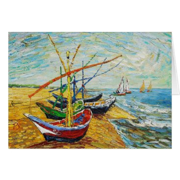Beach Themed Van Gogh Fishing Boats Greeting Card