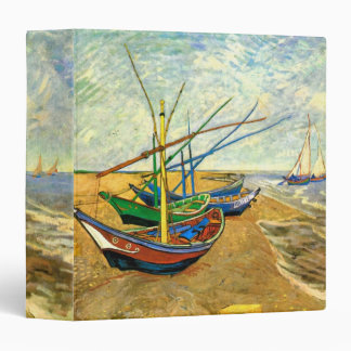 Van Gogh Fishing Boats on Beach at Saintes Maries 3 Ring Binder