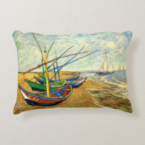 Van Gogh Fishing Boats on Beach at Saintes Maries Accent Pillow