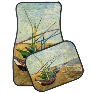 Van Gogh Fishing Boats on Beach at Saintes Maries Car Floor Mat