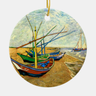 Van Gogh Fishing Boats on Beach at Saintes Maries Ceramic Ornament