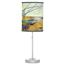 Van Gogh Fishing Boats on Beach at Saintes Maries Desk Lamp