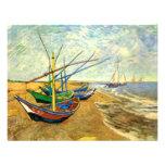 Van Gogh Fishing Boats on Beach at Saintes Maries Custom Announcement