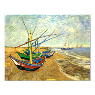 Van Gogh Fishing Boats on Beach at Saintes Maries 4.25x5.5 Paper Invitation Card