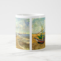 Van Gogh Fishing Boats on Beach at Saintes Maries Large Coffee Mug
