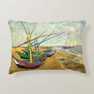 Van Gogh Fishing Boats on Beach at Saintes Maries Accent Pillow