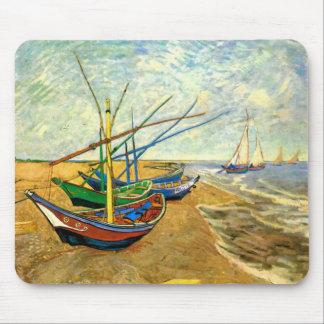 Van Gogh Fishing Boats on Beach at Saintes Maries Mouse Pad