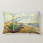 Van Gogh Fishing Boats on Beach at Saintes Maries Pillow