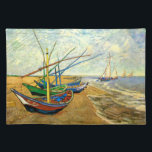 "Van Gogh Fishing Boats on Beach at Saintes Maries Placemat<br><div class=""desc"">Fishing Boats on the Beach at Saintes Maries by Vincent van Gogh is a vintage fine art post impressionism maritime painting. A nautical seascape ocean scene with several fishing sailboats on a beach in France overlooking the sea with more boats sailing. About the artist: Vincent Willem van Gogh (1853 -1890)...</div>"