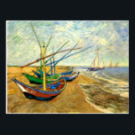 """Van Gogh Fishing Boats on Beach at Saintes Maries Postcard<br><div class=""""desc"""">Fishing Boats on the Beach at Saintes Maries by Vincent van Gogh is a vintage fine art post impressionism maritime painting. A nautical seascape ocean scene with several fishing sailboats on a beach in France overlooking the sea with more boats sailing. About the artist: Vincent Willem van Gogh (1853 -1890)...</div>"""