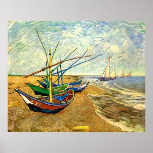 Van Gogh Fishing Boats on Beach at Saintes Maries Poster
