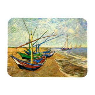 Van Gogh Fishing Boats on Beach at Saintes Maries Rectangular Magnet
