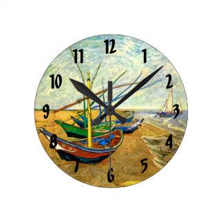 Van Gogh Fishing Boats on Beach at Saintes Maries Round Clock
