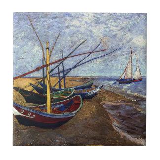 Van Gogh Fishing Boats on Beach Ceramic Tile