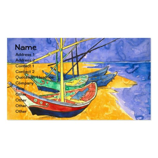 Van Gogh Fishing Boats on Beach (F1429) Fine Art Double-Sided Standard Business Cards (Pack Of 100)