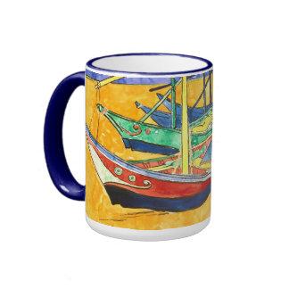 Van Gogh Fishing Boats on Beach F1429 Fine Art Mugs