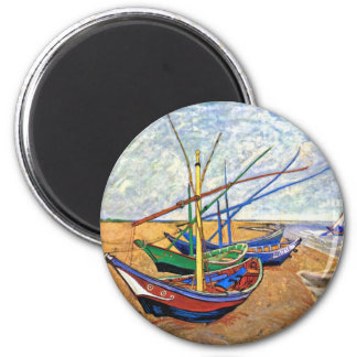 Van Gogh - Fishing Boats On The Beach 2 Inch Round Magnet