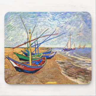 Van Gogh - Fishing Boats On The Beach Mouse Pad