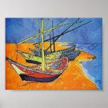 Van Gogh - Fishing Boats on the Beach Poster