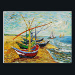 "Van Gogh Fishing Boats Postcard<br><div class=""desc"">Van Gogh Fishing Boats postcard. Oil on Canvas 1888. This is one of Van Gogh's finest marina paintings. The work features fours fishing boats sitting on the beach with their sails down. The fishing boats are red, green and blue. A pretty gift for fans of Van Gogh, Sail Boat paintings,...</div>"