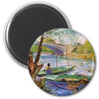 Van Gogh - Fishing In Spring 2 Inch Round Magnet