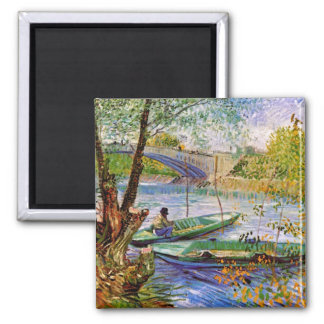 Van Gogh - Fishing In Spring 2 Inch Square Magnet