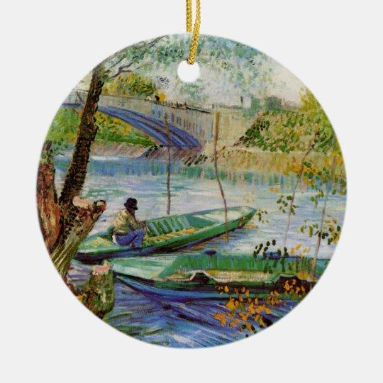 Van Gogh Fishing in the Spring, Vintage Fine Art Ceramic Ornament