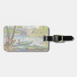 Van Gogh Fishing in the Spring, Vintage Fine Art Luggage Tag