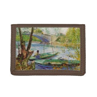 Van Gogh Fishing in the Spring, Vintage Fine Art Tri-fold Wallet