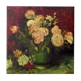 Van Gogh florece arte, el cuenco con los Peonies y Azulejo
