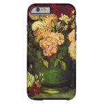 Van Gogh florece arte, el cuenco con los Peonies y Funda De iPhone 6 Tough