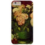Van Gogh florece arte, el cuenco con los Peonies y Funda De iPhone 6 Plus Barely There