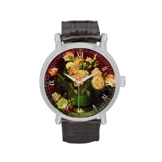 Van Gogh florece arte, el cuenco con los Peonies y Relojes