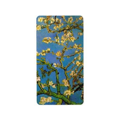 Van Gogh florece el arte, árbol de almendra Etiquetas De Dirección