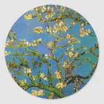 Van Gogh florece el arte, árbol de almendra Etiqueta Redonda