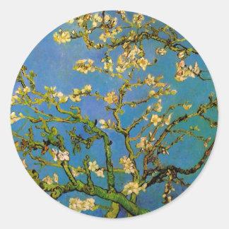 Van Gogh florece el arte, árbol de almendra Pegatina Redonda